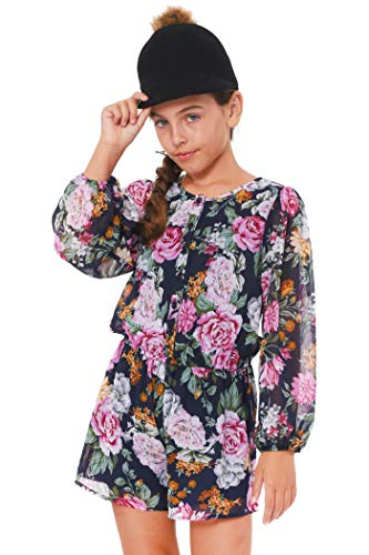 Truly Me, Big Girl's Long Sleeve Floral Printed Chiffon Woven Rompers for Fall and Winter, Size 7-16 (Navy Floral, 12)