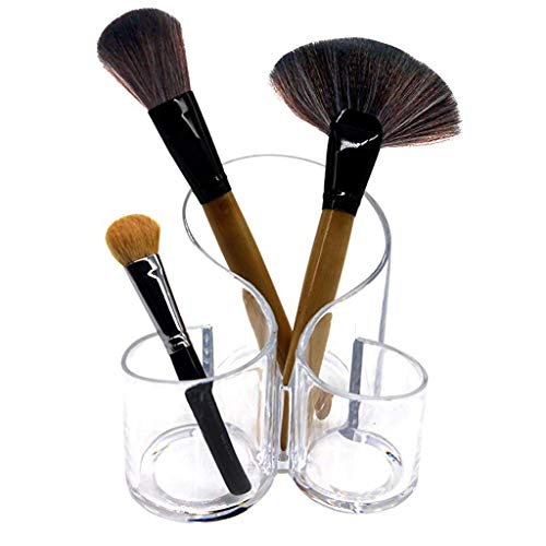 Manyao Makeup Organizer Brush Holder Birthday Present For Her Acrylic Desktop Organizer - Round, 4.6 X 5.1 Inches