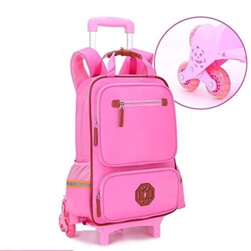 Trolley Backpack – afneembare schoolrugzak voor kinderen, waterdicht, voor studenten, hoge capaciteit, reizen in de open lucht, voor kinderen, meisjes, jongeren, 6 wielen, yellow (Roze) - LBWT