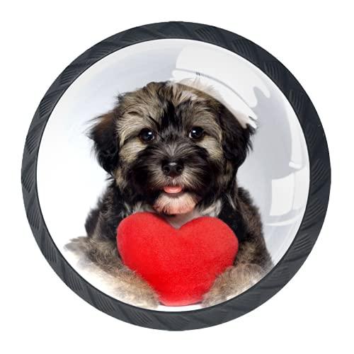 LXYDD Manijas para cajones Perillas para gabinetes Perillas Redondas Paquete de 4 para Armario, cajón, cómoda, cómoda, etc, Cachorro Tiene un corazón Rojo