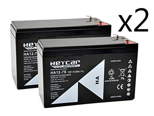 HEYCAR - Pack de 2 Baterías de Plomo AGM para aplicaciones estacionarias. Batería 12V 7Ah. Capacidad de descarga 108 A 1,92 Kg. 151 x 65 x 94 mm