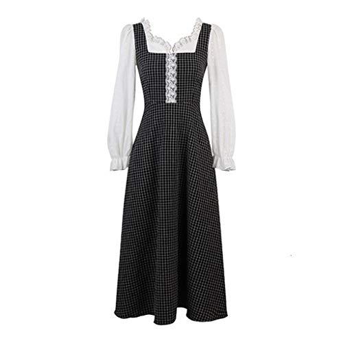 SHYPT Vestido Retro Mujeres Casual Vestido de Longitud Media, Vestido de Encaje de Manga Larga del Banquete (Size : XXX-Large)