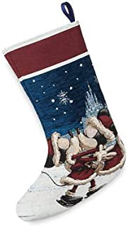 Dp Disney Parks Mickey and Minnie Kissing Skating Tapestry Christmas Stocking