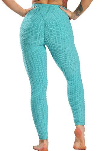 FITTOO Mallas Pantalones Deportivos Leggings Mujer Yoga Alta Cintura Gran Elásticos Fitness Azul L