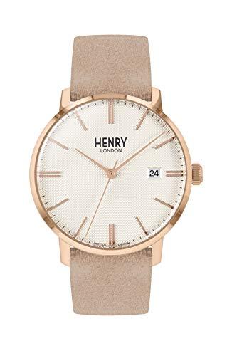 Henry London Unisex Erwachsene Analog Quarz Uhr mit Leder Armband HL40-S-0354