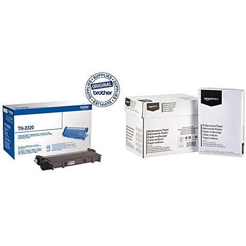 Brother Tonerkassette TN-2320 schwarz & Amazon Basics Druckerpapier, DIN A4, 80 g/m², 5x500 Blatt, Weiß