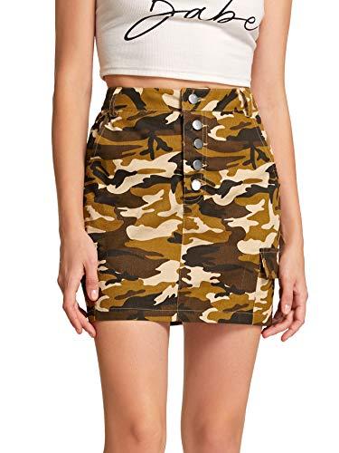 WDIRARA Women's Summer A Line Mid Waist Camo Print Mini Denim Skirt Brown XL