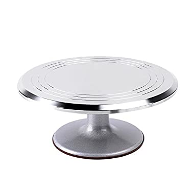 Ohuhu Aluminium Cake Turntable 12'' Revolving Rotating Cake Decorating Stand with Rubber Bottom