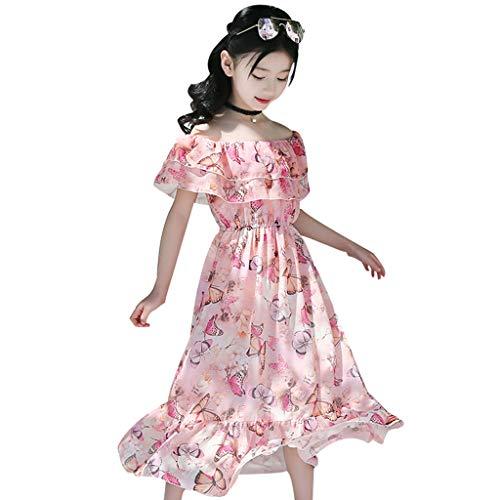 Livoral Kleider für Mädchen Böhmischer Rock Kinder Kurzarm Blumenrüschen Schmetterling Schulter Schulter Kleid großen Kinderrock(Rosa,160)