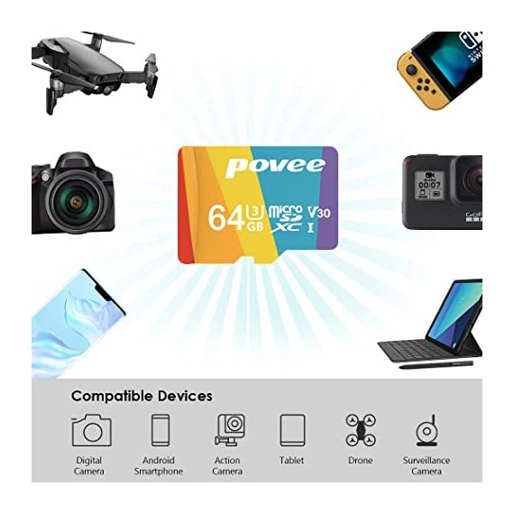 64GB Micro SD Card with Adapter,U3 MicroSDXC Card for Nintendo Switch, V30 Memory Card for Gopro Hero 7 Hero 8 Android… 5 U3 V30 High Speed: Read speed up to 100MB/s, write speed>35MB/s. High transfer speed will save your time of the data transferring.( Actual test speed base on USB3.0 card reader in USB3.0 Port, for devices that don't support UHS-I or USB2.0 port, the transmission speed will be different due to interface limitations.) Great Value for Nintendo Switch! Also great value for action camera like Gopro hero 7 hero 8 black,Yi, DJI Mavic Air Mavic Pro Series Phantom 4 Pro Phantom 4 Pro V2.0 Phantom 4 Advanced and other Drones. Good for 4K UHD video recording and high quality pictures. Good performance for use in Android Smartphones,Drones,Tablets, Action Cameras, Digital Cameras, Dash Cam, DSLRs and more. COMPATIBILE with most of the smart phone like Samsung Galaxy S10 S10+ S10e S9 S8 S7 A9 A6 A6+ Note 9 8 Tab S4 S3 J3; LG K30 G7 Q7 Q Stylus V40 V35; Sony Xperia XZ2 Premium Compact L2 XA2 Ultra Plus XZ1 L1 XZ; Amazon Fire 7 Fire HD 8 Fire HD 10; Moto E5,E6,G6,G7,Z3,Z4,Moto One