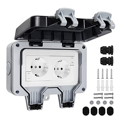 SHYOSUCCE 2 Presa Esterno Impermeabile IP66 con Interruttore, Connettore da Impermeabile e Coperchio Incernierato, Presa Elettrica Esterno per Cucina, Bagno, Garage, Piscina e Giardino