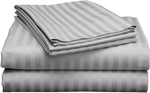 """California King Size Sheet Set - 4 Piece Set - Hotel Luxury Bed Sheets - 24"""" Inch Deep Pockets - Easy Fit - Breathable & Cooling - 800 Thread Count 100% Egyptian Cotton Bed Sheet - Silver Stripe"""
