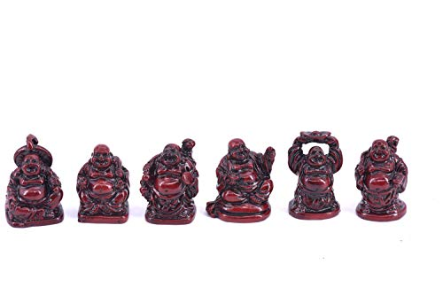 Chinese Laughing Lucky Buddha Statues, 6 Figurines Set 1' (Red)