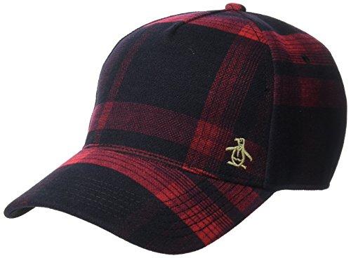 Original Penguin Men's Wooly Check Baseball Cap, Rio red, OSFA