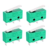 uxcell 4PCS KW4-3Z-3 Micro Limit Switch SPDT NO NC 3 Terminals Momentary Short Straight Lever Type Green