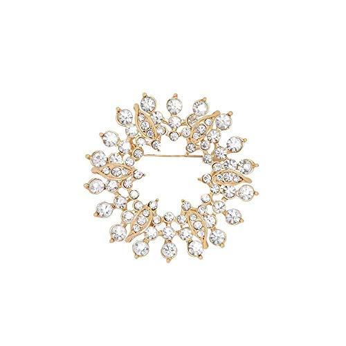 GYAYU Wreath Brooch Pins for Women,Gold Tone Austria Rhinestone Crystal Brooch Pins Jewelry(Wreath)