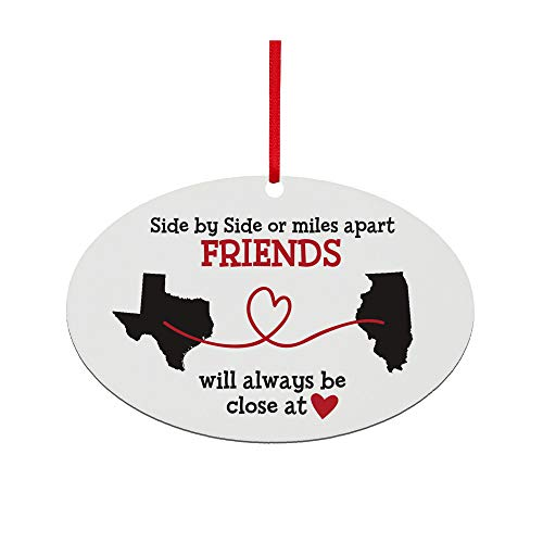 Let's Make Memories - Personalized Christmas Ornament for Distant Friends and Family - Custom Ornament for Those Miles Apart, Close at Heart - Any Two States - 6'x4' - Oval