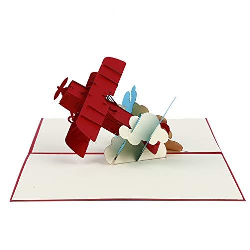 Lwanfei 3D-Grußkarte, Motiv: Flugzeug, Pop-up-Karte, Kinder-Geburtstagskarte, Vatertagskarte, Glückwunschkarte, einzigartiges Geschenk für Piloten, Luftfahrt-Geschenke