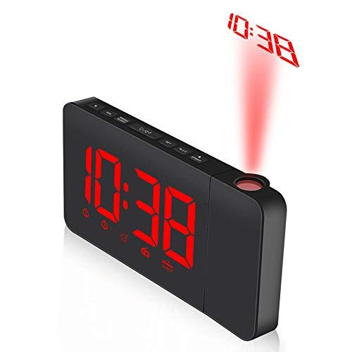 FPRW draadloze wekker, dubbele projector met FM-radio, snooze-functie, digitale led-wekker, rood