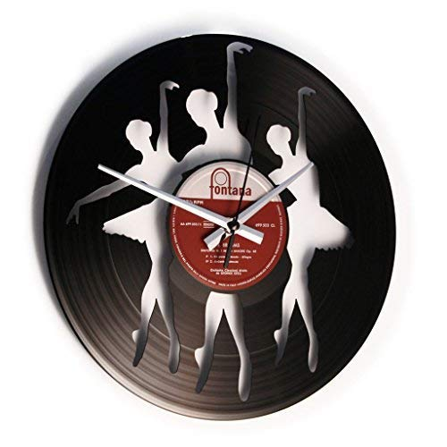 DISCOCLOCK - DOC097 - Ballerinas - Wanduhr aus Vinyl Schallplattenuhr mit Ballet Motiv - Upcycling Design Uhr Wand-Deko Vintage-Uhr Retro-Uhr Made IN Italy 24 Uhr!