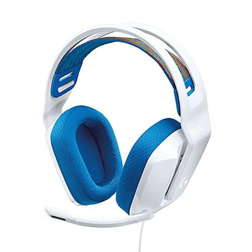 Logitech G335 Auriculares con Cable para Gaming, Micrófono Volteable, Jack de 3.5mm, Almohadillas de espuma viscoelástica, compatible con PC, PlayStation, Xbox, Nintendo Switch - Blanco