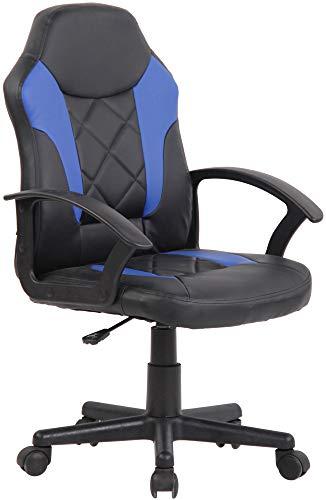 CLP Kinder Bürostuhl Tafo I Höhenverstellbarer Schreibtischstuhl Mit Armlehnen I Drehstuhl Mit Leichtlaufrollen, Farbe:schwarz/blau