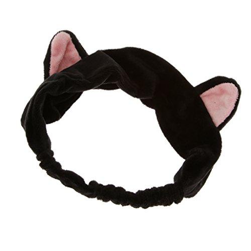 Haarband Stirnband Haarbänder Haarschmuck Haarreifen mit Katze-Ohr für Gesichtswäsche Make up - Schwarz