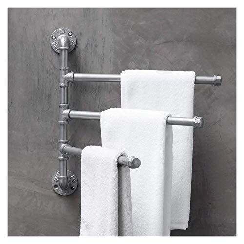 Titular de la manta Ladilla de la manta de 3 brazos Montado en la pared del tubo industrial de la tubería de metal Toalla giratoria de la toalla de la toalla de la toalla para el dormitorio del hogar