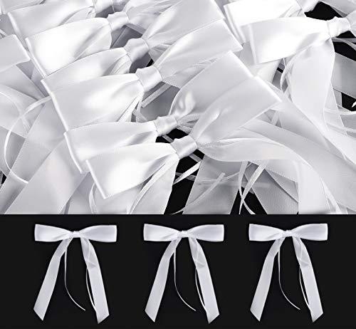Absofine 60x Antennenschleifen Weiß Autoschmuck Autoschleifen Hochzeit Handgemacht Satinband für Dekoration Feste