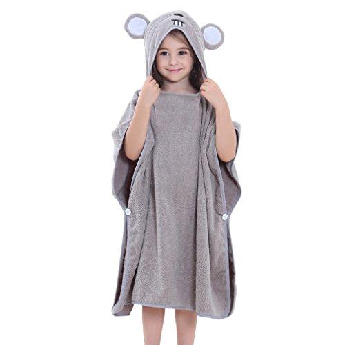 MICHLEY Kapuzen babydecke handtuch Kinder Bade Poncho Mädchen Bademantel 70x70cm Baumwolle Tier Badetücher für 2-6 Jahre(Maus)