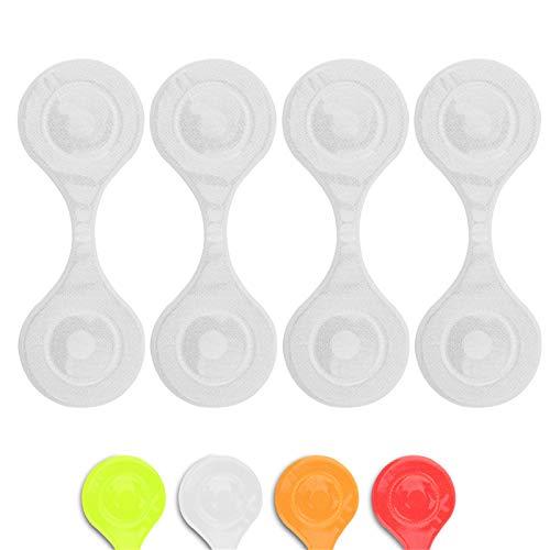 Reflektor Clips, Magnetische Reflektoren für Kleidung, Jacke, Hundegeschirr, u.a, flexibel einsetzbar beim Joggen, am Rucksack oder Kinderwagen, 4 Stück (Silber)