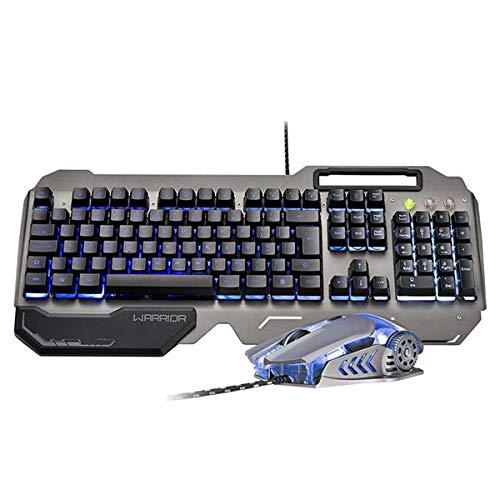 Combo Teclado e Mouse Gamer Superfície em Metal, Warrior, TC223, Prata