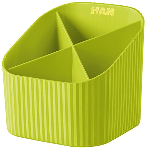 HAN Schreibtischköcher X-LOOP – Stabiler Stiftebehälter mit 4 unterschiedlich hohen Fächern – (BxTxH): 11,1 x 11,1 x 10,5 cm – Trend Colour lemon
