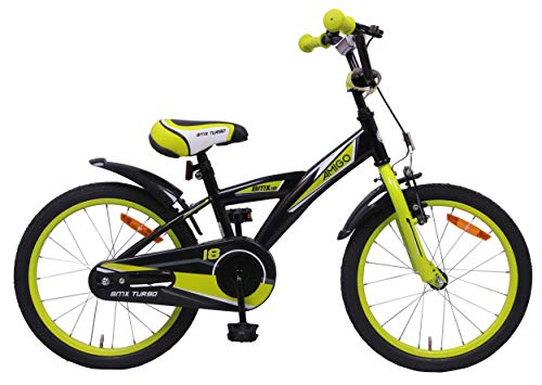 AMIGO BMX Turbo - Kinderfahrrad für Jungen - 18 Zoll - mit Handbremse, Rücktritt, Lenkerpolster und fahrradständer - ab 5-8 Jahre - Schwarz