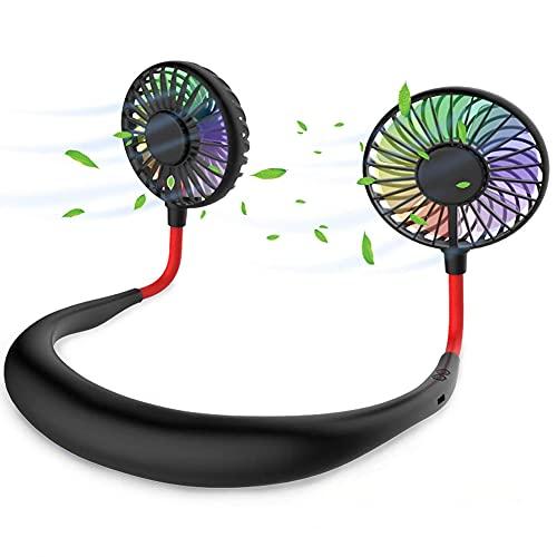 Aney Well Mini ventilador USB, ventilador portátil, ventilador de cuello colgante, giratorio 360°, con luz LED colorida y caja de aromaterapia, para senderismo, barbacoa en casa