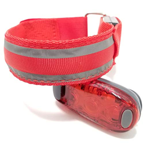 LED Armband Light + LED Safety Light Clip on kit. Best HIGH Visibility and Reflective Gear for Night Running, Biking, Walking, Outdoor Activities, Camping, Dogs, Strollers, and Halloween Fun! (Red)