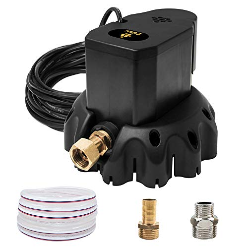 EDOU Automatic Swimming Pool Cover Pump 1200 GPH,1/6-HP,110V,Including 16' Drainage Hose and 3 Adapters Black