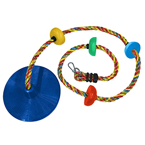 Jungle Gym Kingdom Tree Swing Multicolor Climbing Rope with Platforms Blue Disc Swings Seat - Outdoor Playground Set Accessories Tree House Flying Saucer Outside Toys - Bonus Carabiner & 4 Feet Strap