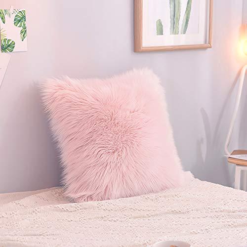 INMOZATA Funda de cojín de felpa suave de piel sintética para sofá, cama, sofá, decoración del hogar, color rosa