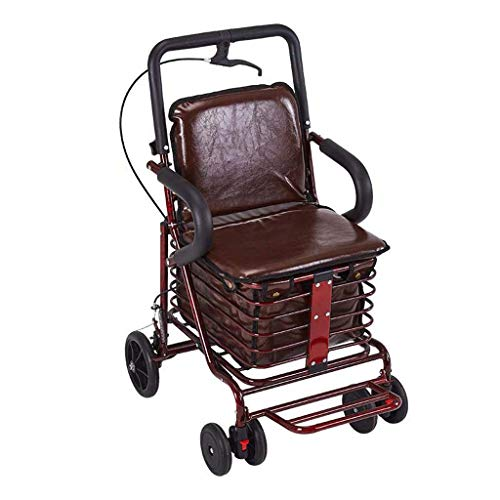 WXDP Selbstfahrend Einkaufswagen Rot/Braunes Leder, Roller mit Sitzkissen, Reisen für ältere Menschen, Einkaufen, Gehen, Angeln, Bremsen, handgezeichneter W