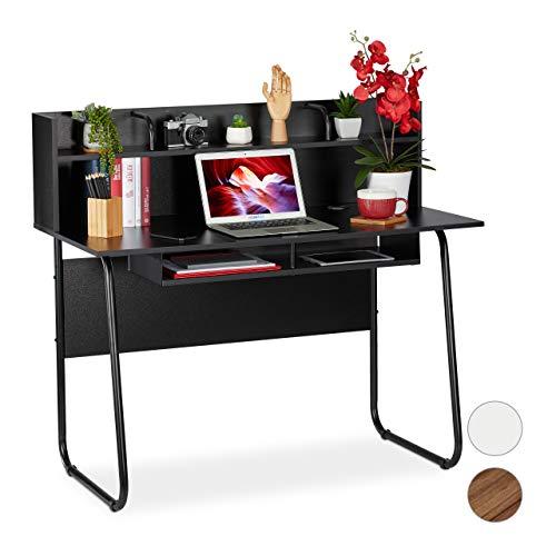 Relaxdays Schreibtisch, Ablagefläche unter Arbeitsplatte, Zusatzablage, Kabeldurchlass, HxBxT: 109x120x60 cm, schwarz