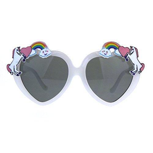 SA106 Kinder-Sonnenbrille, Regenbogen-Einhorn, Herzform, für Mädchen, Weiá (weiß), Einheitsgröße