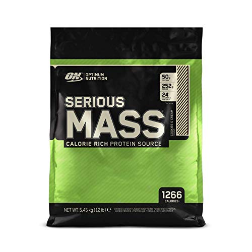 Optimum Nutrition Serious Mass Protein Powder High Calorie Mass Gainer with Vitamins, Creatine and Glutamine, Cookies and Cream, 16 Servings, 5.45 kg, Packaging May Vary