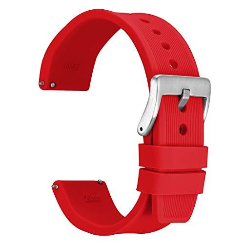 WOCCI 18mm Streifen Textur Silikon Uhrenarmband mit Silberner Schnalle für Herren Damen Uhr (Rot)