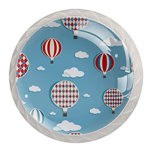 Möbelknopf Heißluftballon Schrankgriff Kristall Türknöpfe Weiß Möbel Griff Runde Schubladenknopf Hardware-Teile 4 Stück 3.5×2.8CM