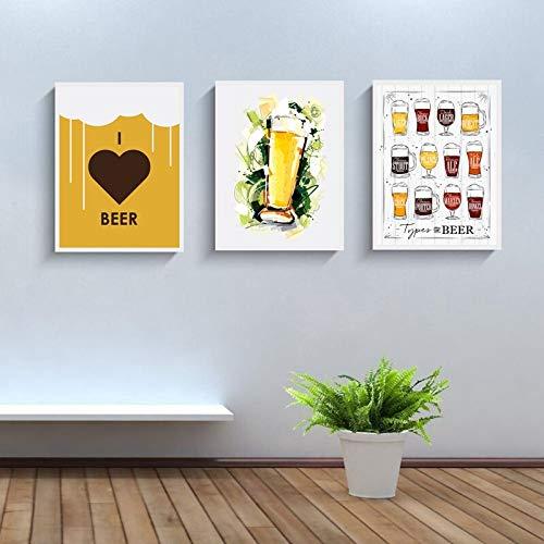 Vintage Bier Poster Print leinwand Kunst wandbild ich Liebe Bier Print leinwand Poster bar wanddekoration rahmenlose malerei 50x70cm