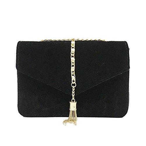 prettygood7 Koreaanse Fluwelen Crossbody Bag Vrouwen Elegante Chain Schoudertas Messenger Bag, Cross-Body Tassen, Zwart
