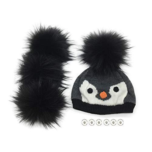 Furryvalley Pompon de pelo sintético con botón de presión 4 pelotas para gorro de punto zapatos bufandas extraíbles ganchillo decoración accesorios 16cm extra grande (negro)