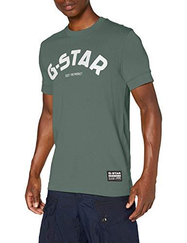G-STAR RAW Felt Applique Logo Slim Camiseta, Selva C336-2190, Small para Hombre