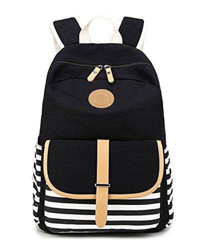 DNFC School Bag Striped Backpack Rucksack Teenager Girls Boys Fashion Canvas Rucksack Backpack Daypack Sports Bag Laptop Book Bag Satchel Back Pack (Black)